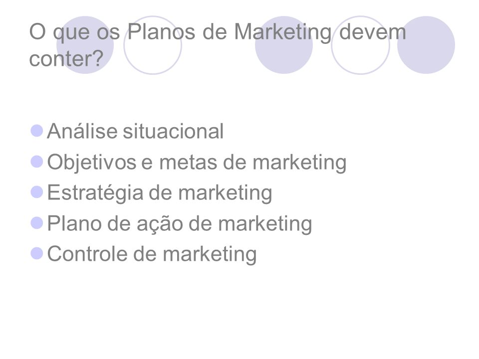 O que os Planos de Marketing devem conter