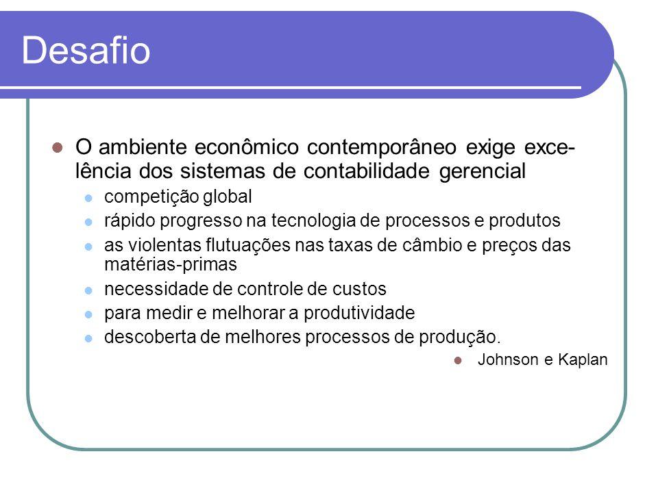 Desafio O ambiente econômico contemporâneo exige exce-lência dos sistemas de contabilidade gerencial.