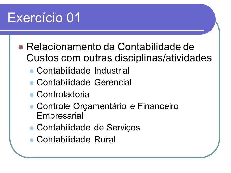 Exercício 01 Relacionamento da Contabilidade de Custos com outras disciplinas/atividades. Contabilidade Industrial.