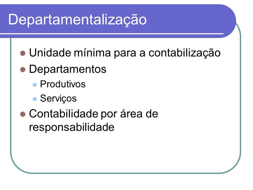 Departamentalização Unidade mínima para a contabilização Departamentos