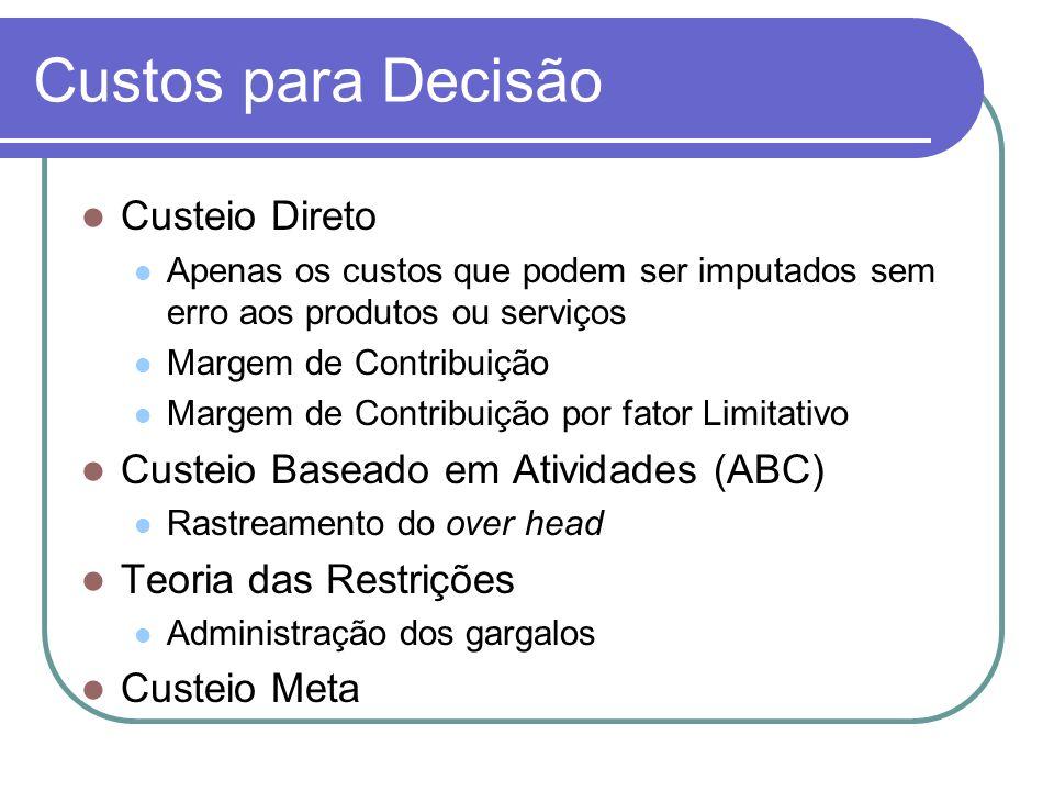 Custos para Decisão Custeio Direto Custeio Baseado em Atividades (ABC)