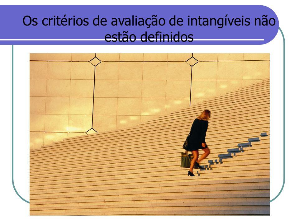 Os critérios de avaliação de intangíveis não estão definidos