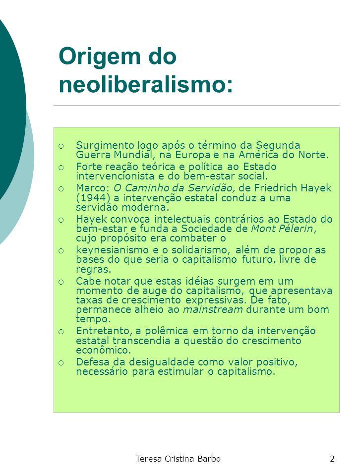 Origem do neoliberalismo:
