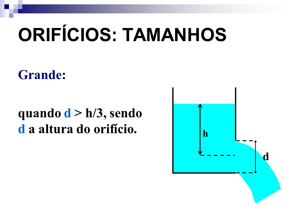 ORIFÍCIOS: TAMANHOS Grande: quando d > h/3, sendo d a altura do orifício. d h