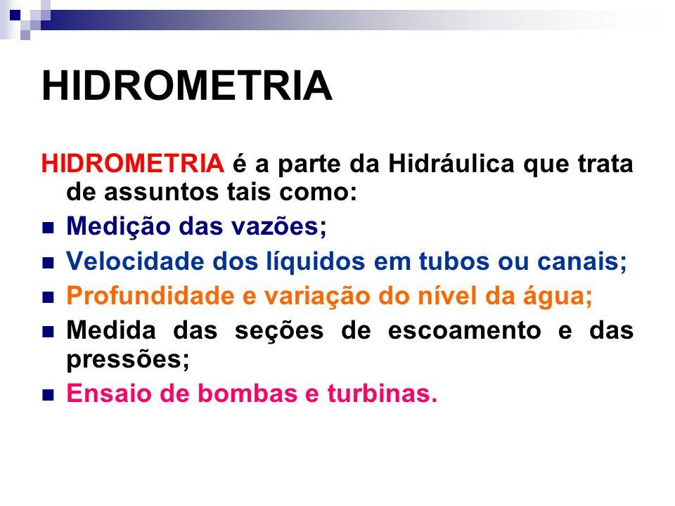 HIDROMETRIA HIDROMETRIA é a parte da Hidráulica que trata de assuntos tais como: Medição das vazões;