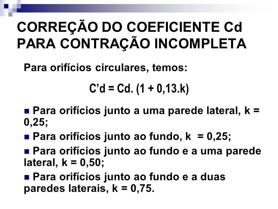 CORREÇÃO DO COEFICIENTE Cd PARA CONTRAÇÃO INCOMPLETA