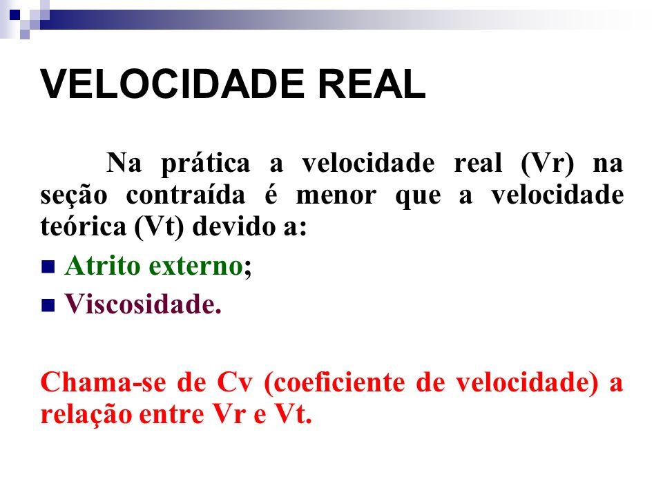 VELOCIDADE REAL Na prática a velocidade real (Vr) na seção contraída é menor que a velocidade teórica (Vt) devido a: