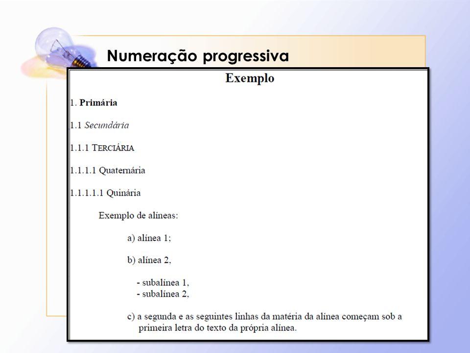 Numeração progressiva