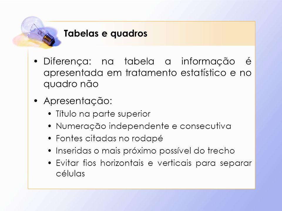 Tabelas e quadros Diferença: na tabela a informação é apresentada em tratamento estatístico e no quadro não.