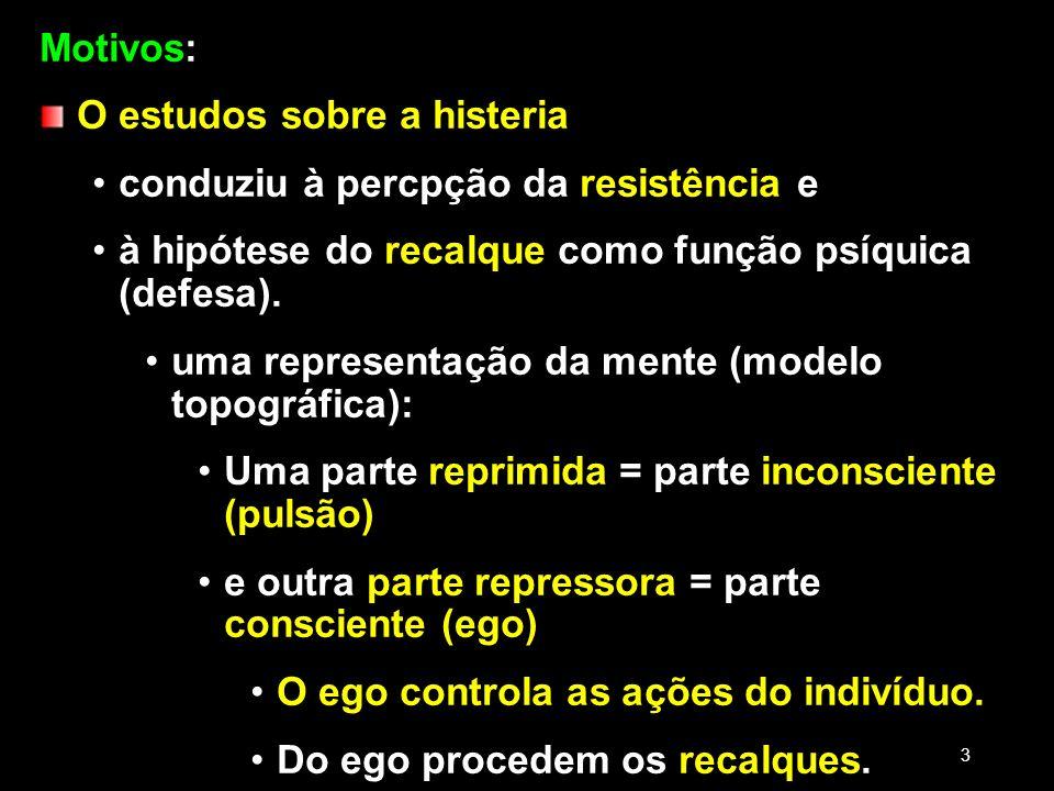 O estudos sobre a histeria conduziu à percpção da resistência e