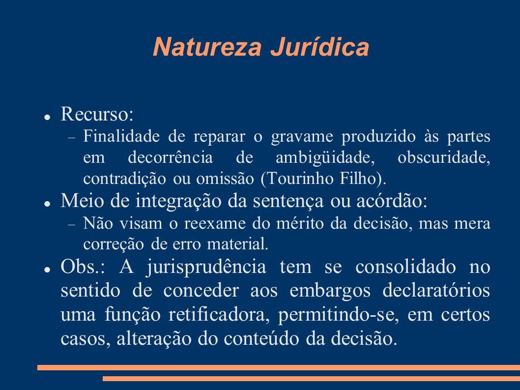 Natureza Jurídica Recurso: Meio de integração da sentença ou acórdão: