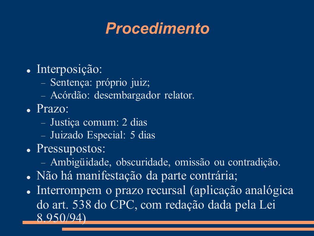 Procedimento Interposição: Prazo: Pressupostos: