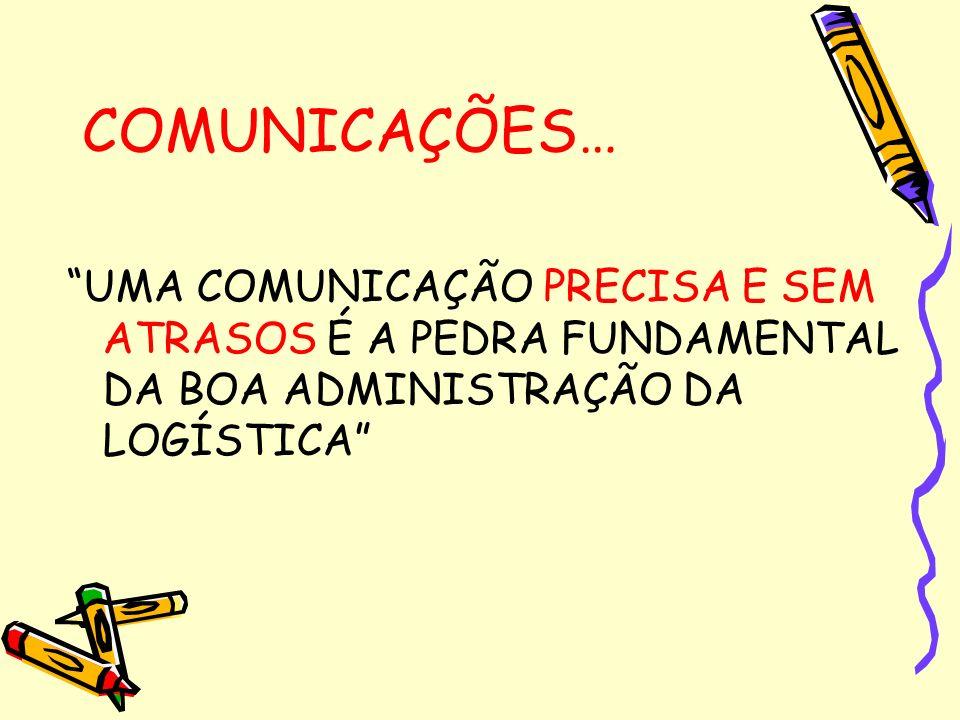 COMUNICAÇÕES… UMA COMUNICAÇÃO PRECISA E SEM ATRASOS É A PEDRA FUNDAMENTAL DA BOA ADMINISTRAÇÃO DA LOGÍSTICA