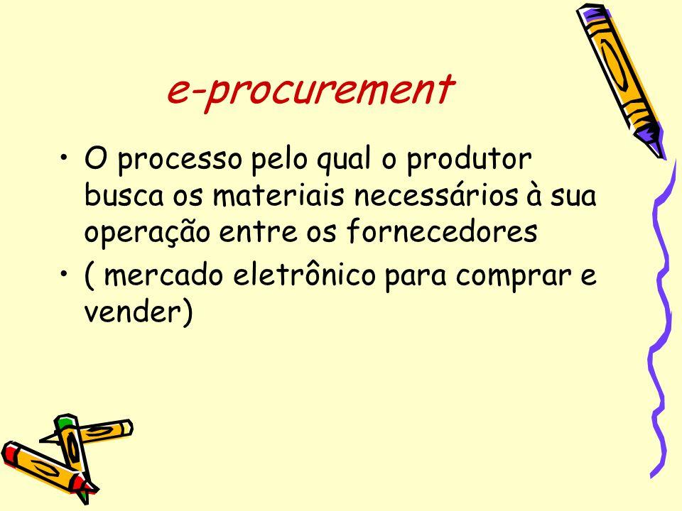 e-procurement O processo pelo qual o produtor busca os materiais necessários à sua operação entre os fornecedores.