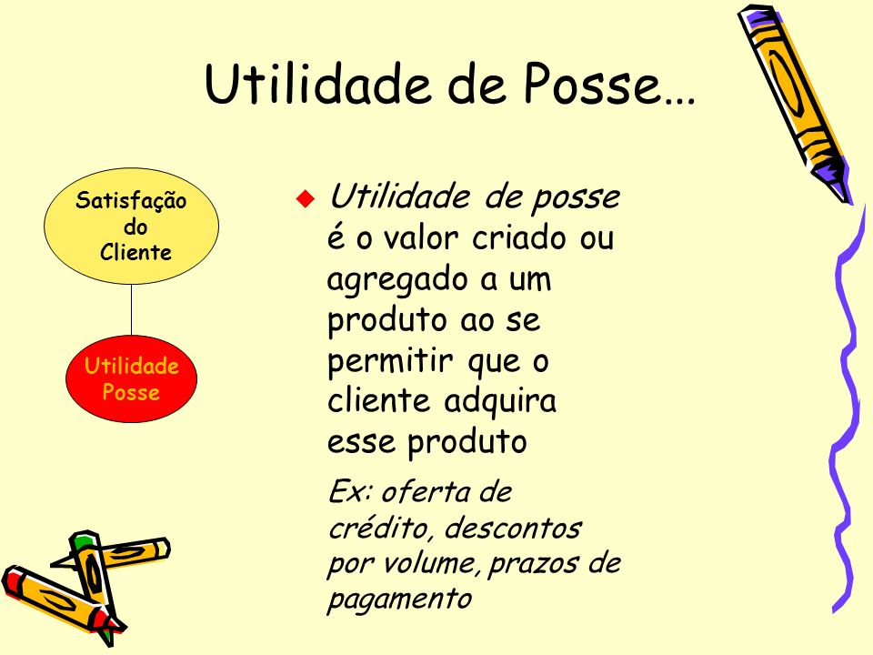Utilidade de Posse…Satisfação. do. Cliente. Utilidade. Posse.