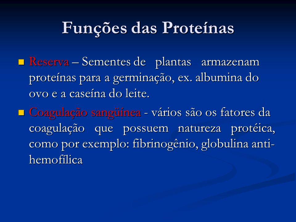 Funções das Proteínas Reserva – Sementes de plantas armazenam proteínas para a germinação, ex. albumina do ovo e a caseína do leite.