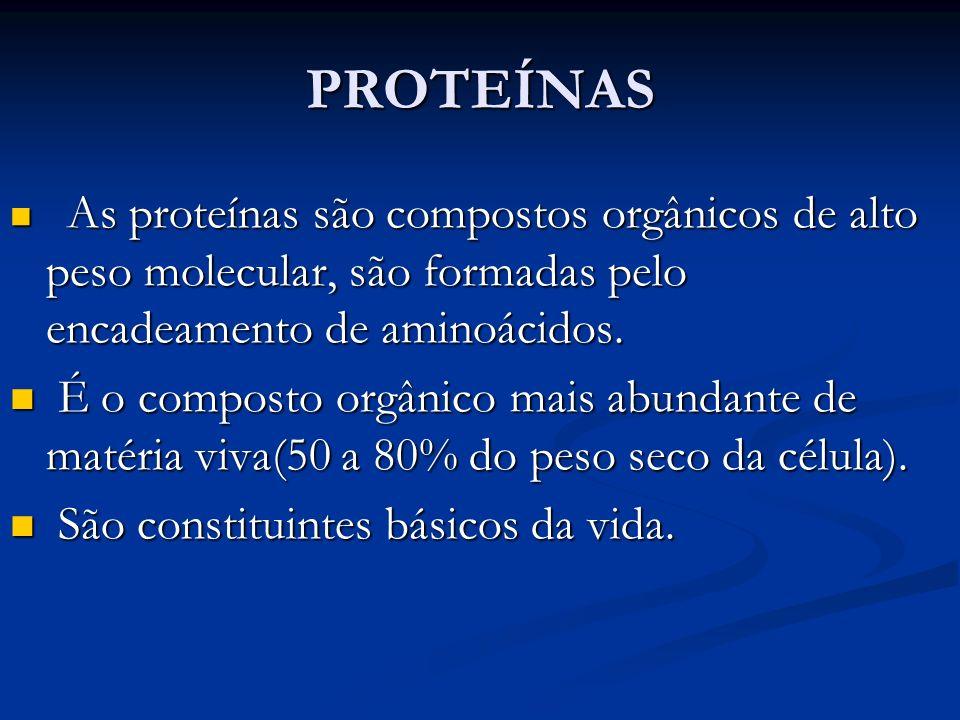 PROTEÍNAS As proteínas são compostos orgânicos de alto peso molecular, são formadas pelo encadeamento de aminoácidos.