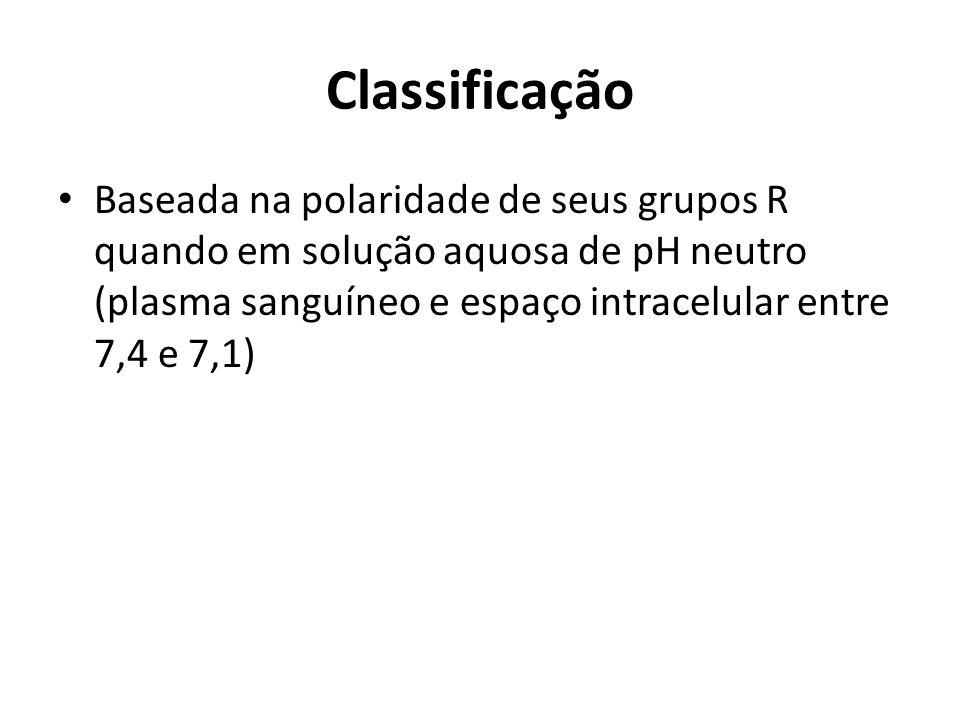 ClassificaçãoBaseada na polaridade de seus grupos R quando em solução aquosa de pH neutro (plasma sanguíneo e espaço intracelular entre 7,4 e 7,1)