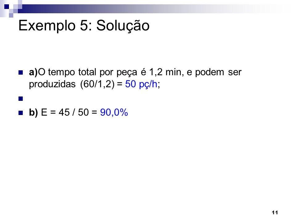 Exemplo 5: Soluçãoa)O tempo total por peça é 1,2 min, e podem ser produzidas (60/1,2) = 50 pç/h; b) E = 45 / 50 = 90,0%