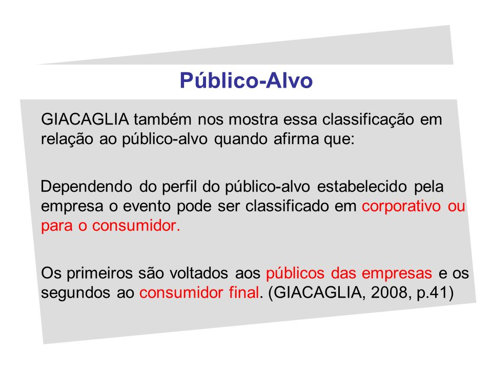 Público-Alvo GIACAGLIA também nos mostra essa classificação em relação ao público-alvo quando afirma que: