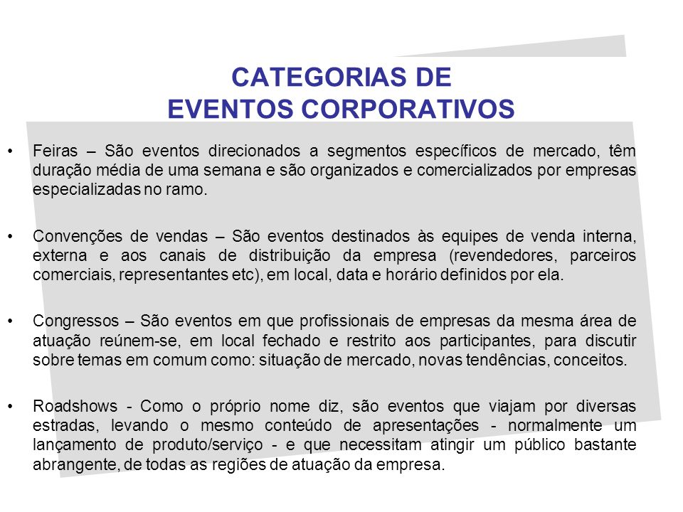 CATEGORIAS DE EVENTOS CORPORATIVOS
