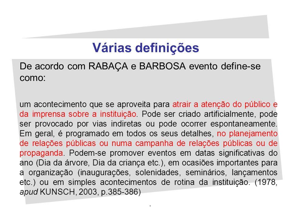 Várias definições De acordo com RABAÇA e BARBOSA evento define-se como: