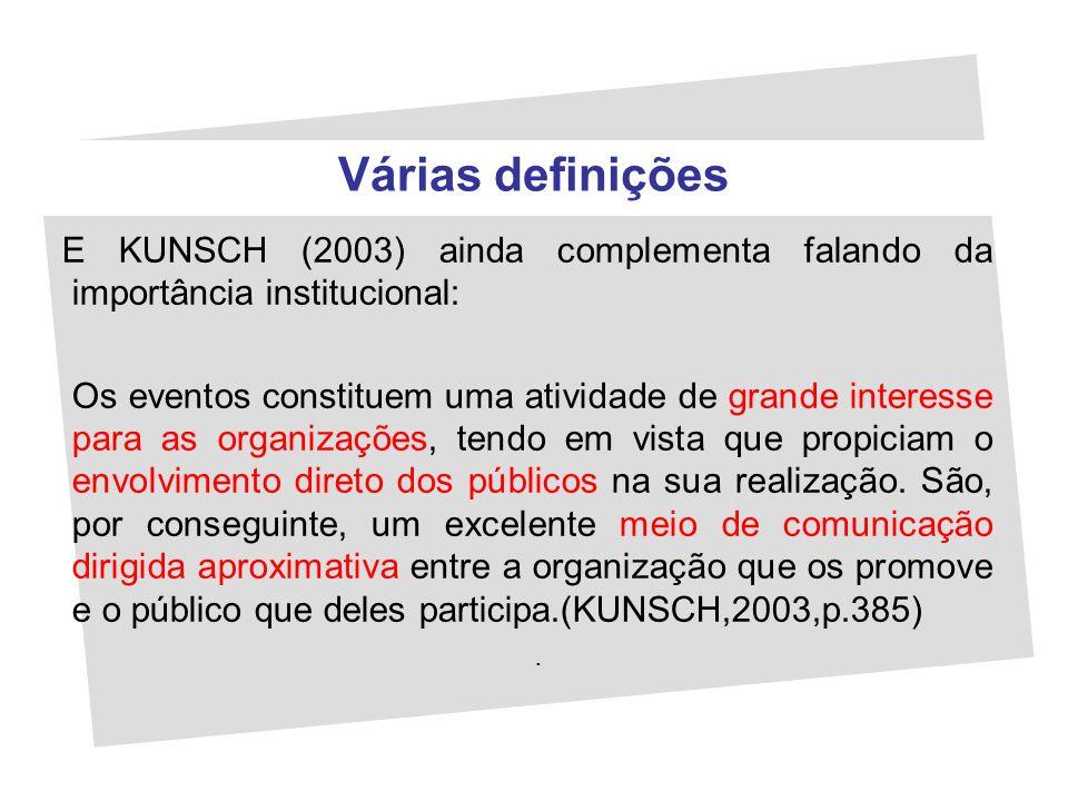 Várias definições E KUNSCH (2003) ainda complementa falando da importância institucional: