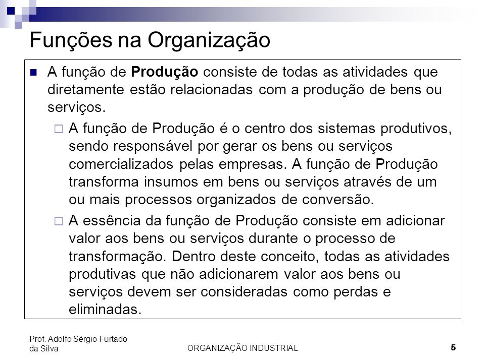 Funções na Organização