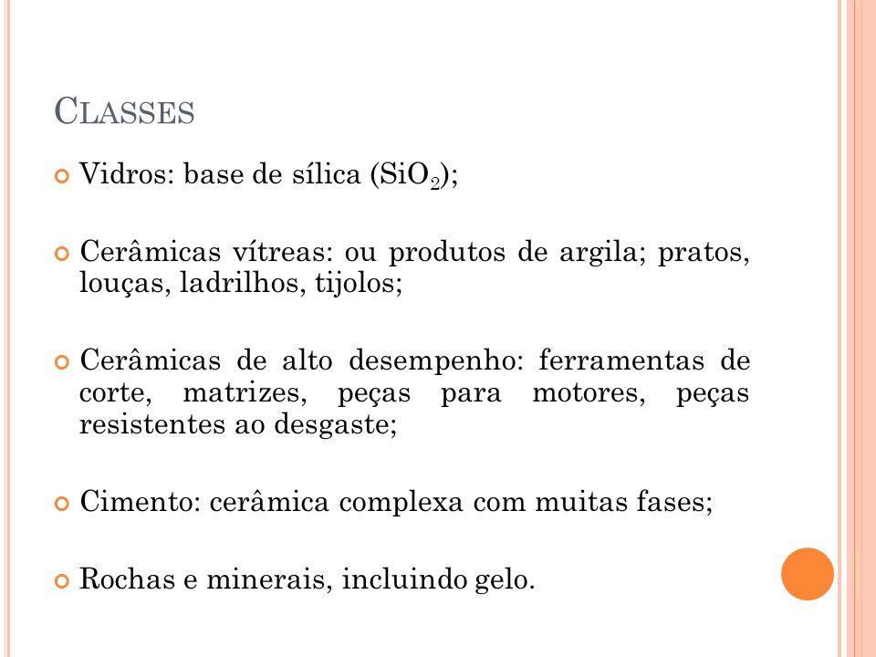 Classes Vidros: base de sílica (SiO2);