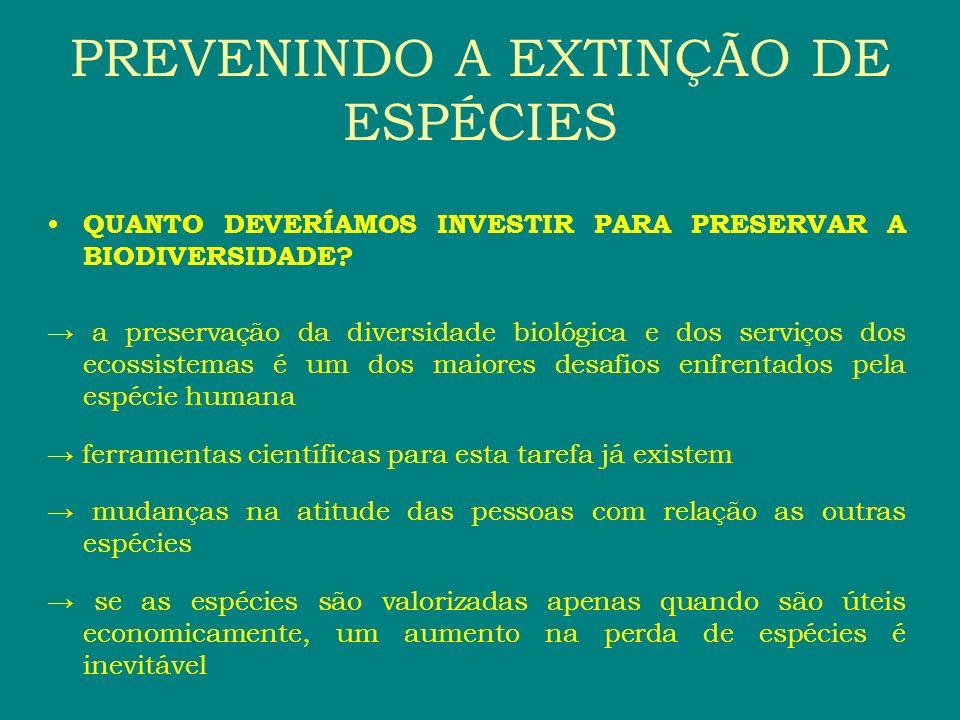 PREVENINDO A EXTINÇÃO DE ESPÉCIES