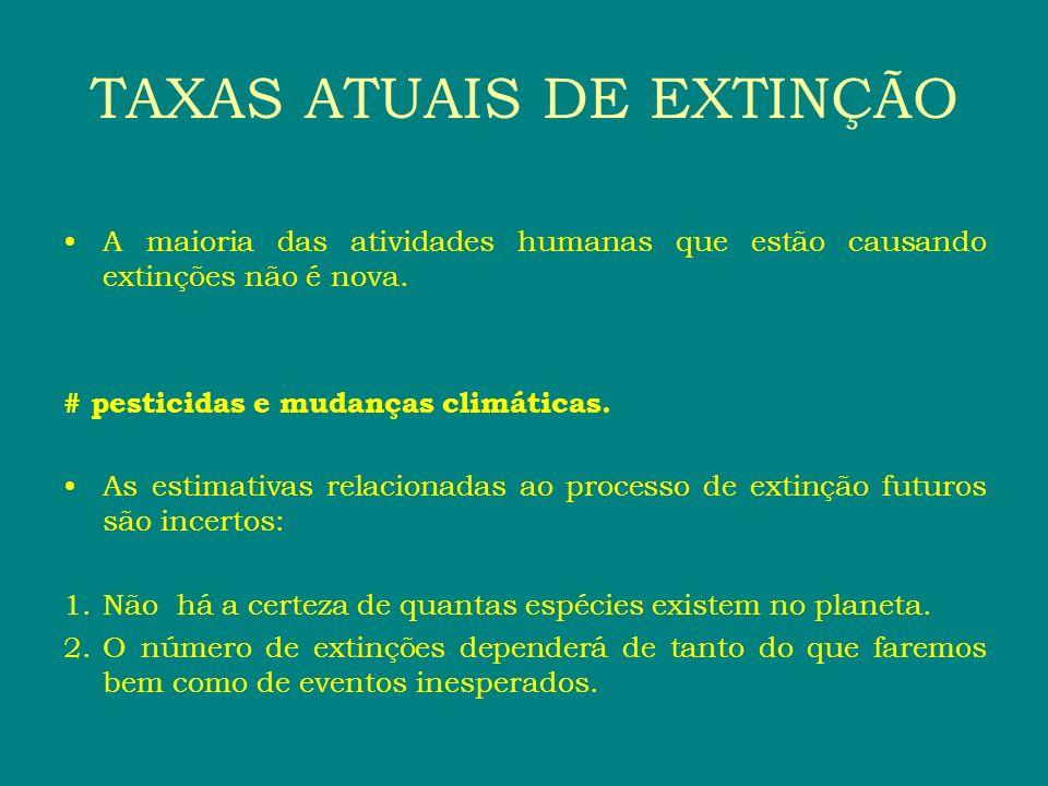 TAXAS ATUAIS DE EXTINÇÃO