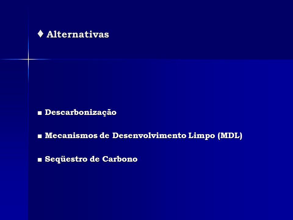 ♦ Alternativas ■ Descarbonização