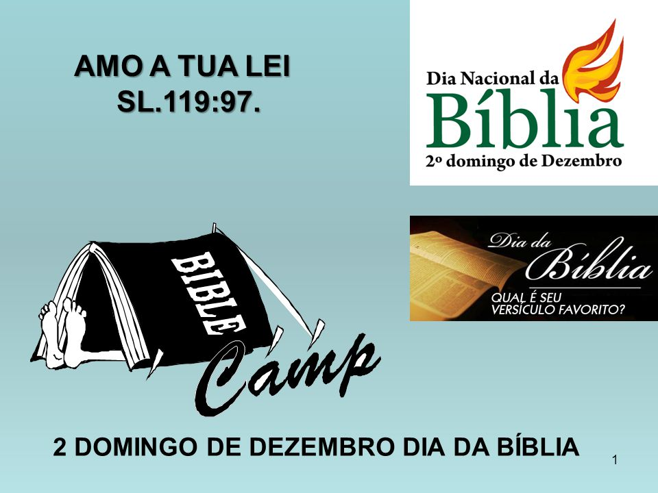 AMO A TUA LEI SL.119:97. 2 DOMINGO DE DEZEMBRO DIA DA BÍBLIA
