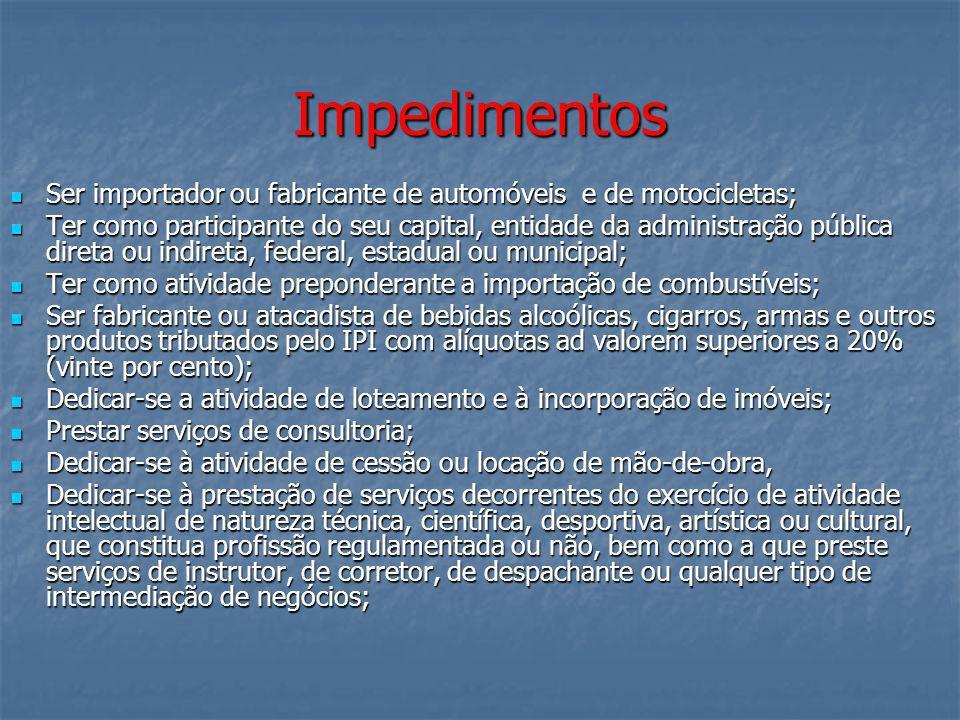 Impedimentos Ser importador ou fabricante de automóveis e de motocicletas;