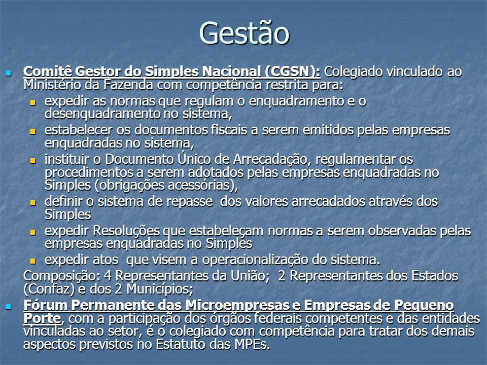 Gestão Comitê Gestor do Simples Nacional (CGSN): Colegiado vinculado ao Ministério da Fazenda com competência restrita para: