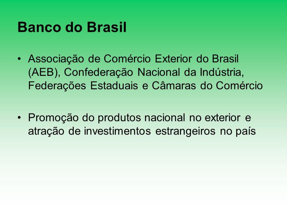 Banco do Brasil Associação de Comércio Exterior do Brasil (AEB), Confederação Nacional da Indústria, Federações Estaduais e Câmaras do Comércio.