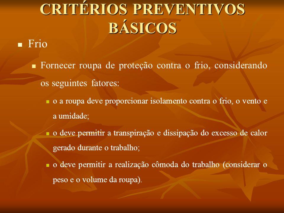 CRITÉRIOS PREVENTIVOS BÁSICOS