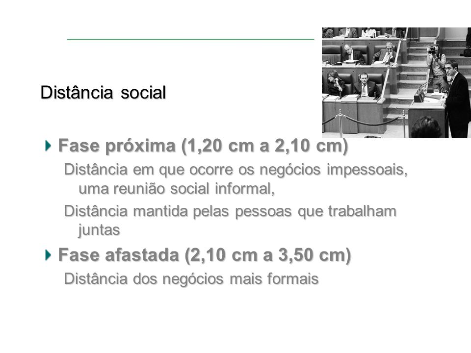 Distância social Fase próxima (1,20 cm a 2,10 cm)