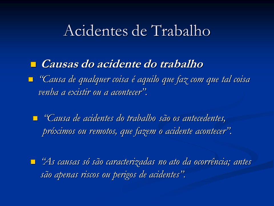 Acidentes de Trabalho Causas do acidente do trabalho