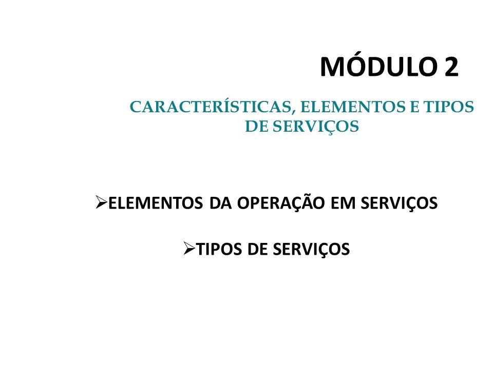 MÓDULO 2 ELEMENTOS DA OPERAÇÃO EM SERVIÇOS TIPOS DE SERVIÇOS