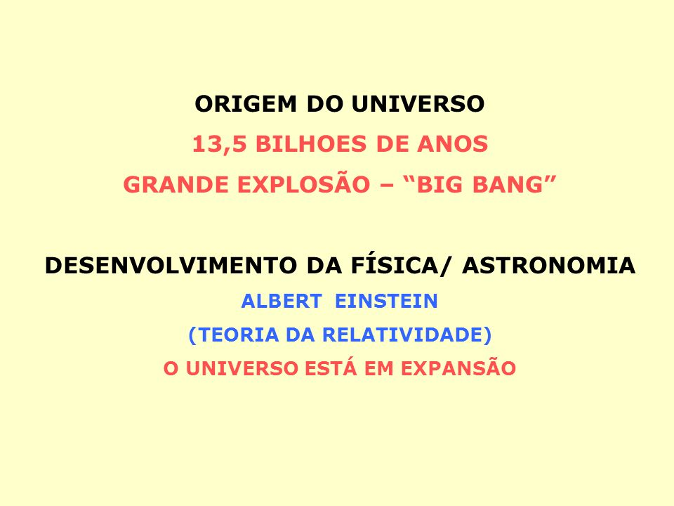 GRANDE EXPLOSÃO – BIG BANG