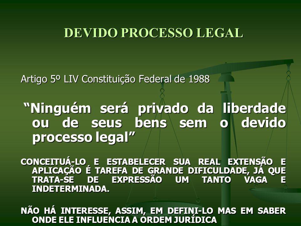 DEVIDO PROCESSO LEGAL Artigo 5º LIV Constituição Federal de 1988