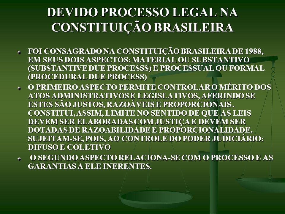 DEVIDO PROCESSO LEGAL NA CONSTITUIÇÃO BRASILEIRA