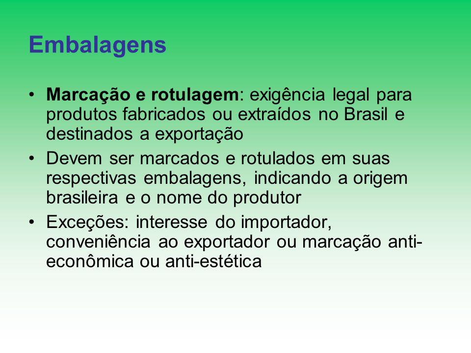Embalagens Marcação e rotulagem: exigência legal para produtos fabricados ou extraídos no Brasil e destinados a exportação.