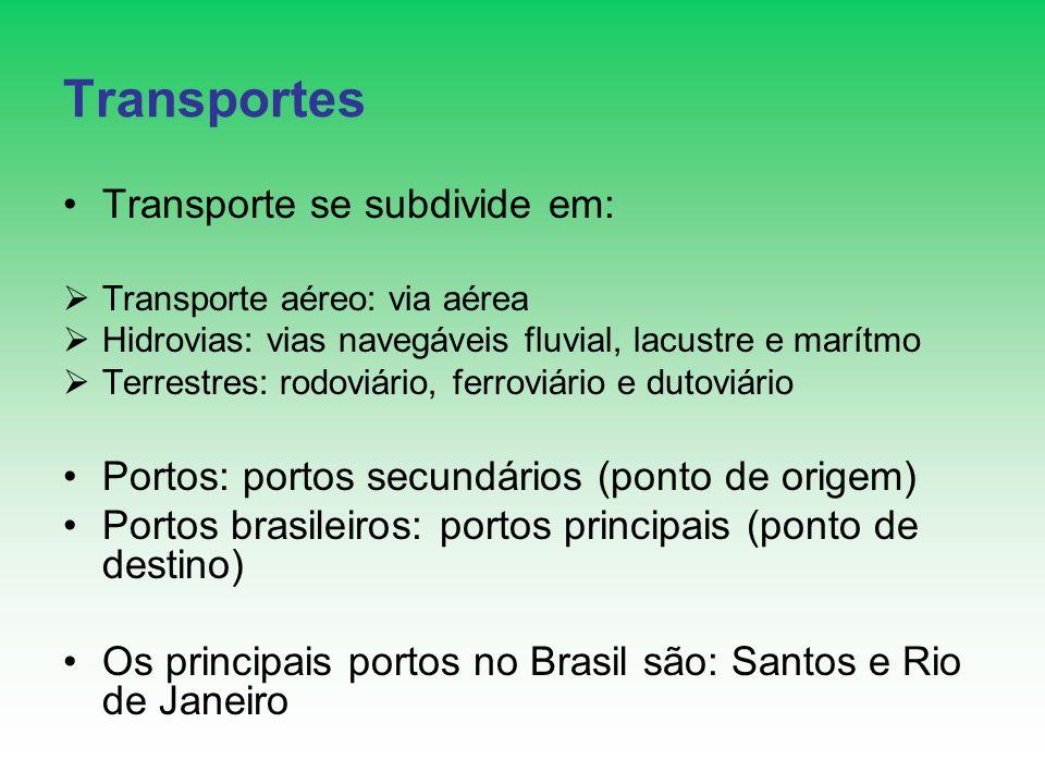 Transportes Transporte se subdivide em: