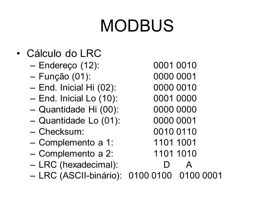 MODBUS Cálculo do LRC Endereço (12): 0001 0010 Função (01): 0000 0001