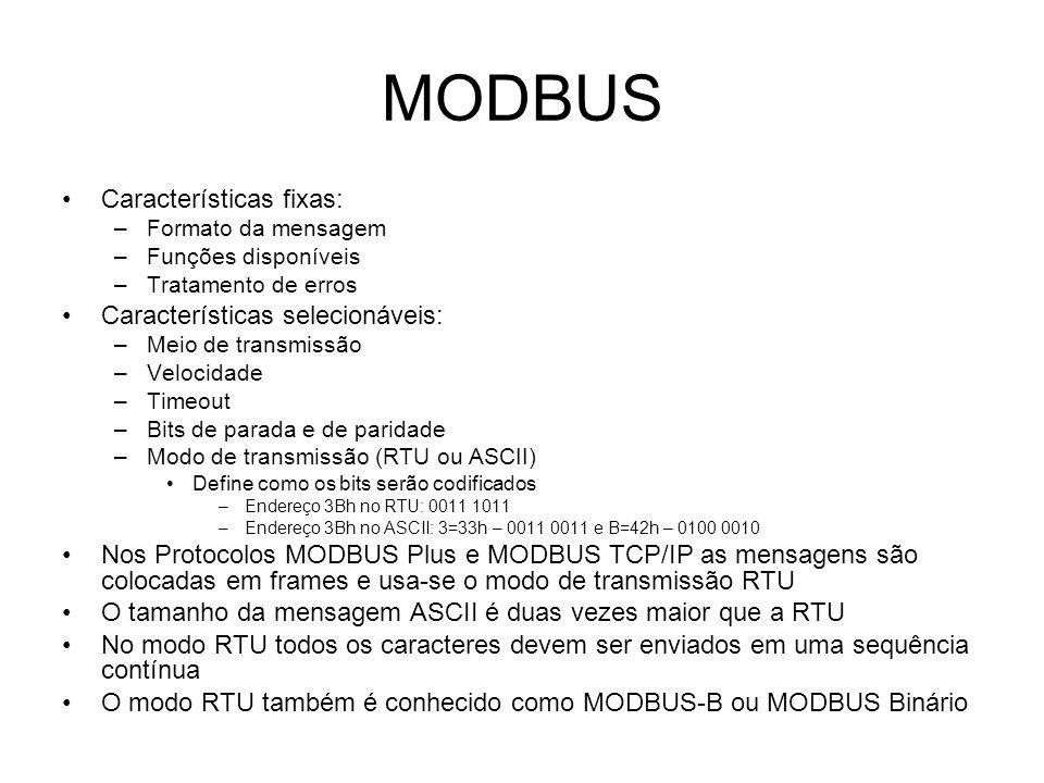 MODBUS Características fixas: Características selecionáveis:
