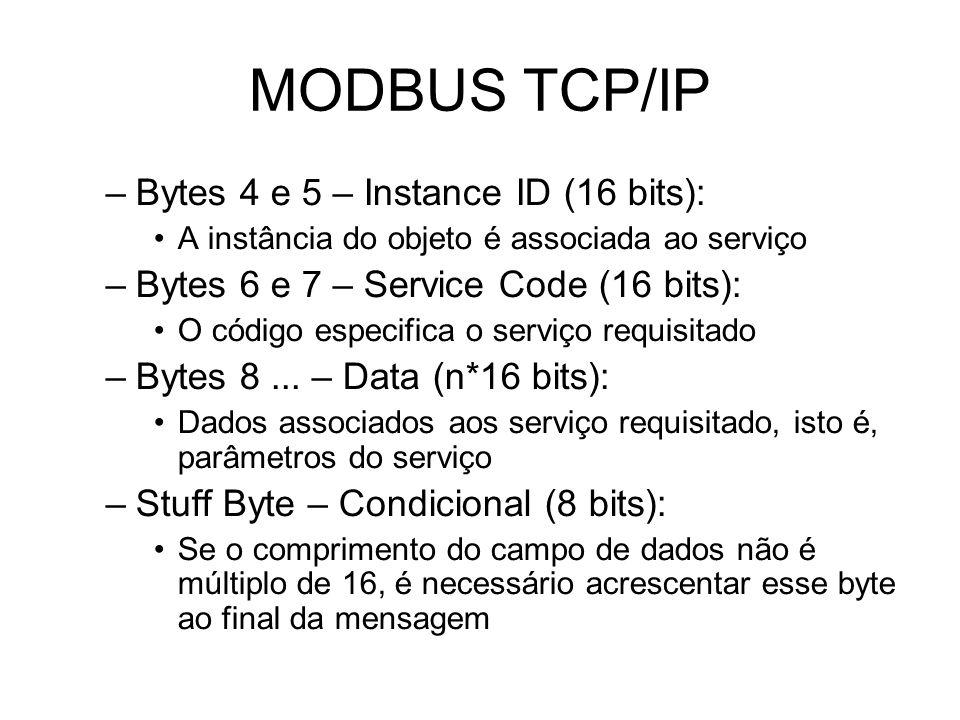 MODBUS TCP/IP Bytes 4 e 5 – Instance ID (16 bits):