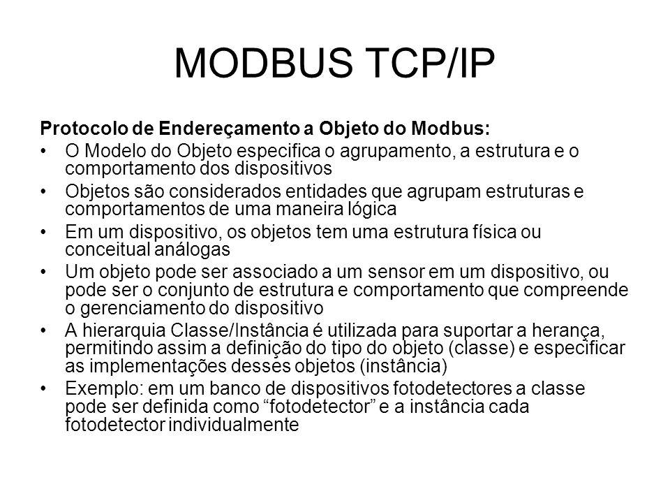 MODBUS TCP/IP Protocolo de Endereçamento a Objeto do Modbus: