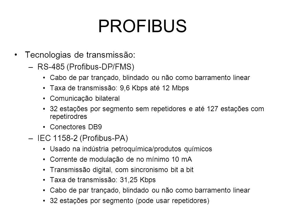 PROFIBUS Tecnologias de transmissão: RS-485 (Profibus-DP/FMS)